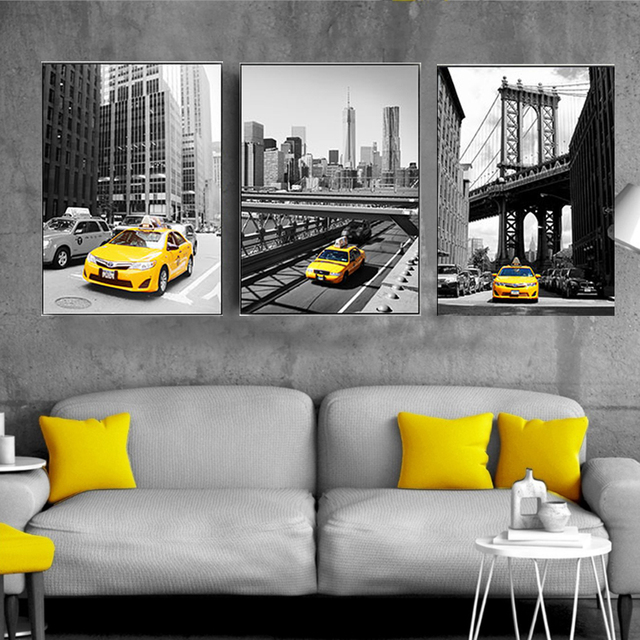 Modern City Building Car Landscape Canvas Paintings Nordic Poster and Print Wall Art Pictures for Living Room Home Office Decor