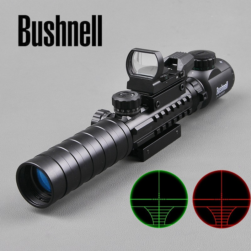 BUSHNELL 3-9X32 EG Tactical Optical Riflescope With Holographic Reflex 4 Reticle Green Red Dot Sight Set For Airsoft Air Rifle tactial qd release rifle scope 3 9x32 1maol mil dot hunting riflescope with sun shade tactical optical sight tube equipment