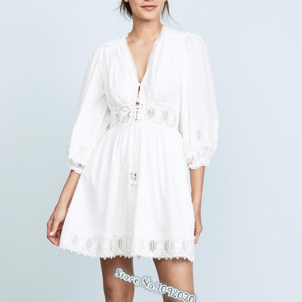 Donne Bianco Iris Corsetto-vita Del Cotone Mini Vestito scollo a V e Un Corsetto Vita Iris Corsetto Ricamato In Cotone Dobby vestito