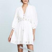 Women White Iris Corset waist Cotton Mini Dress V neckline and A Corset Waist Iris Corset Embroidered Cotton Dobby Dress