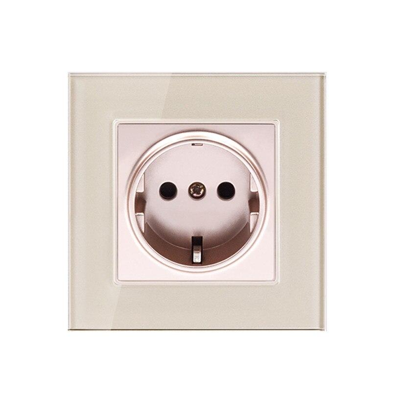 Verre trempé double Micro USB électrique Prise Murale Moderne Mur Power Outlet