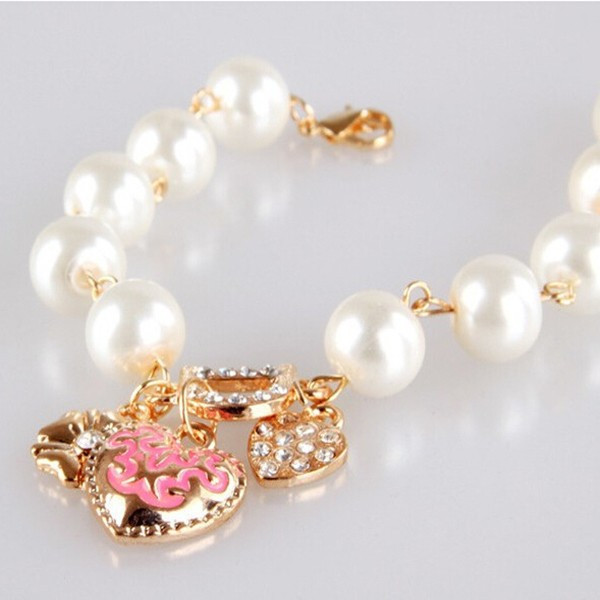 оптовая продажа бижутерия в форме сердца и д кулон браслет, жемчуг браслет и браслет, золото хлопки pulseiras bracelete для женщин, бесплатная доставка br036