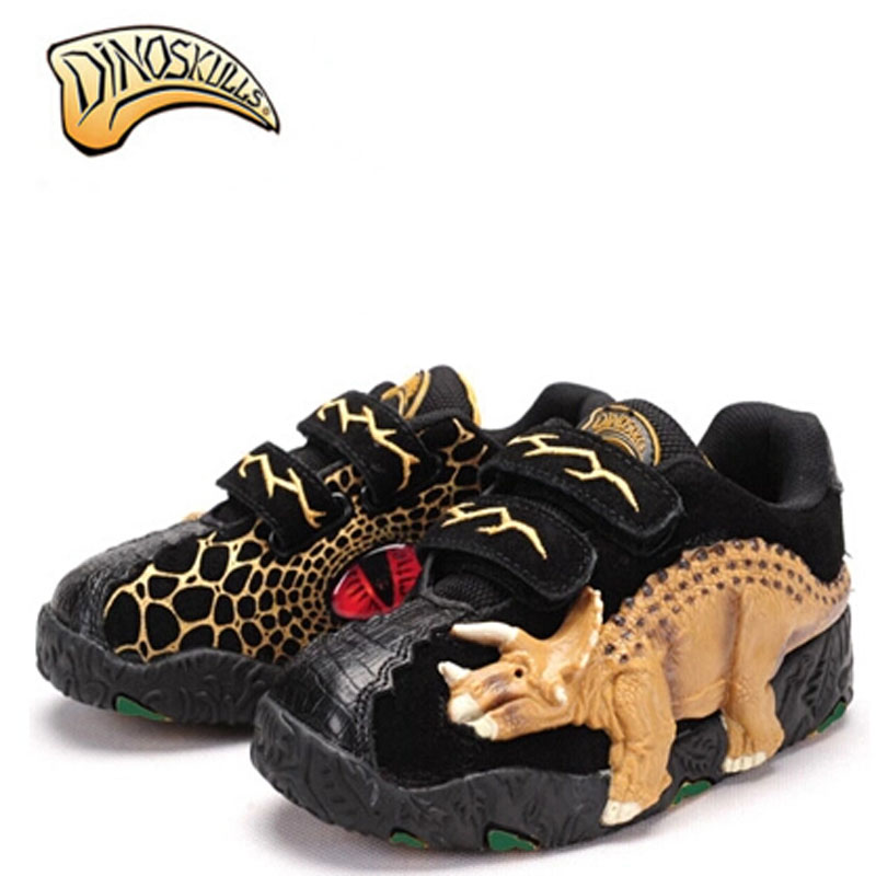 Dinoskulls Brand 2017 New Arrival 3D T-REX Dinosaur Children Shoes Kids Glowing Sneakers Boys Shoes Luminous Non-slip Baby Shoes