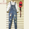 Women Jumpsuits Plus Size Spring 2016 New Jeans Overalls With Holes Korean Styel Patches Long Trousers Slim Combinaison Femme