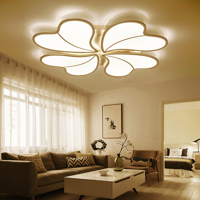 Led Four Leaf Grass Iron Art Ceiling Lights Simple Romantic Heart Shaped  Living Room Master Bedroom