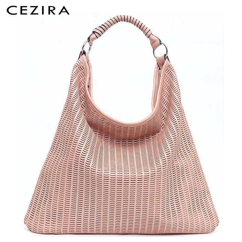 CEZIRA Large Fashion Shoulder Tote Bags for Women Vegan Leather Hollow Out High Quality Luxury Design