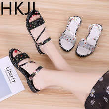 HKJL Slippers for women 2019 new summer fashion sandals flat with leisure a-line students water drilling slippers A743