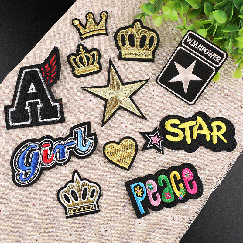 2018 Fashion Iron Patches for Clothing Gold Heart Crown ...