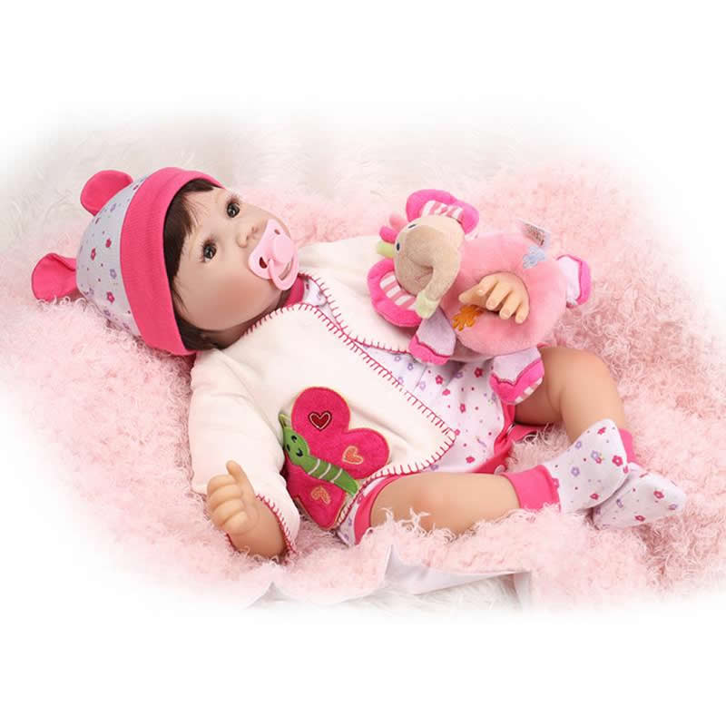 Collectible Reborn Baby Girl Doll 22 Inch Newborn Silicone Soft Princess Alive Babies With Brown Eyes Kids Birthday Gift