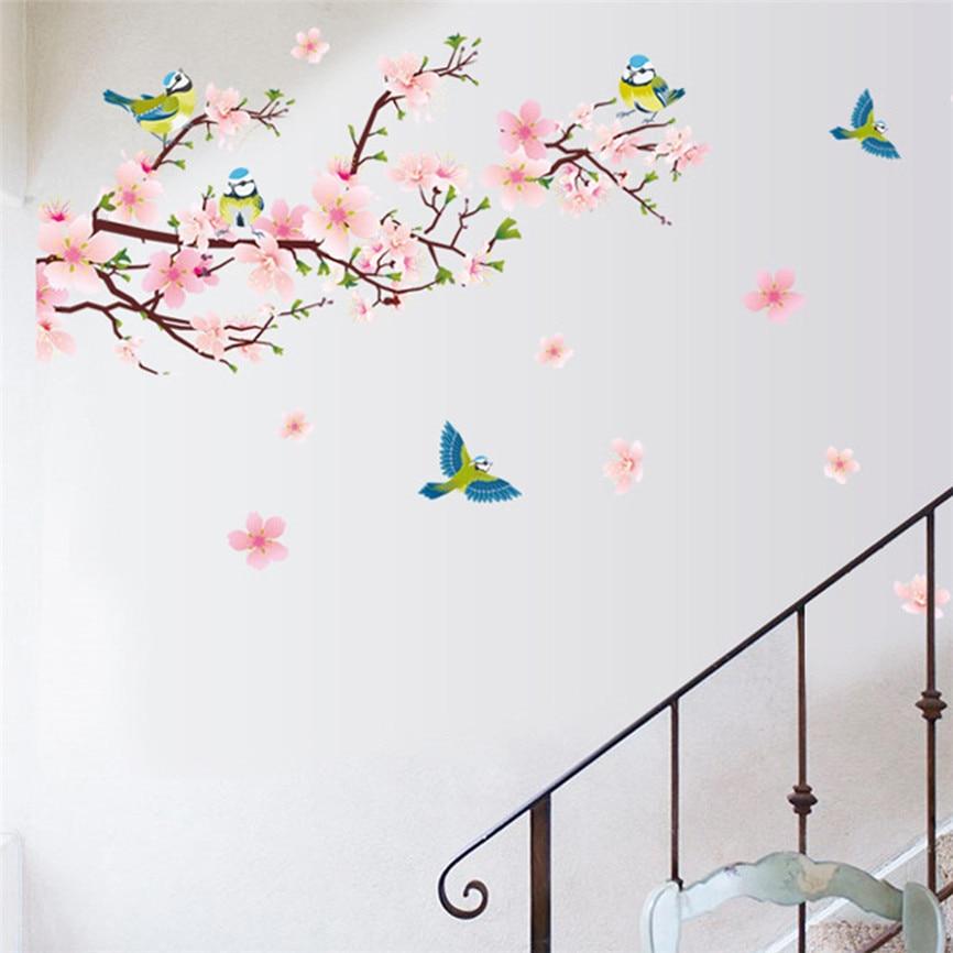 Wallpaper Sticker Peach Blossom Flower Butterfly Wall Stickers Vinyl Art Decals Decorolesale Wallpapers For Living Room 2018 B#