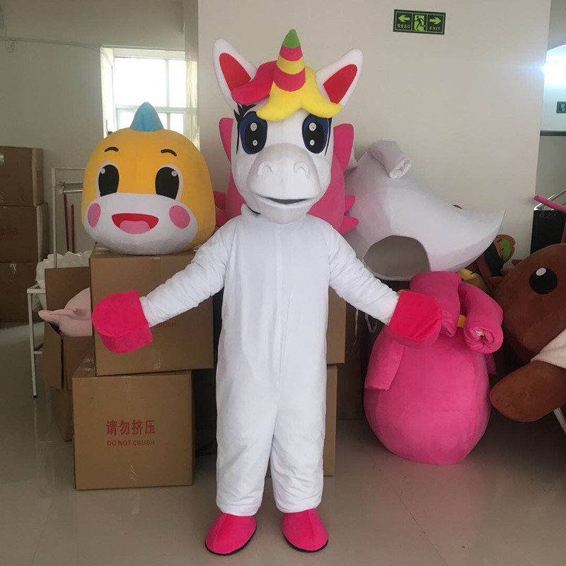 Unicorn Mascot Costume Lovely White Flying Horse Cospaly Cartoon animal Character adult Halloween party costume Carnival
