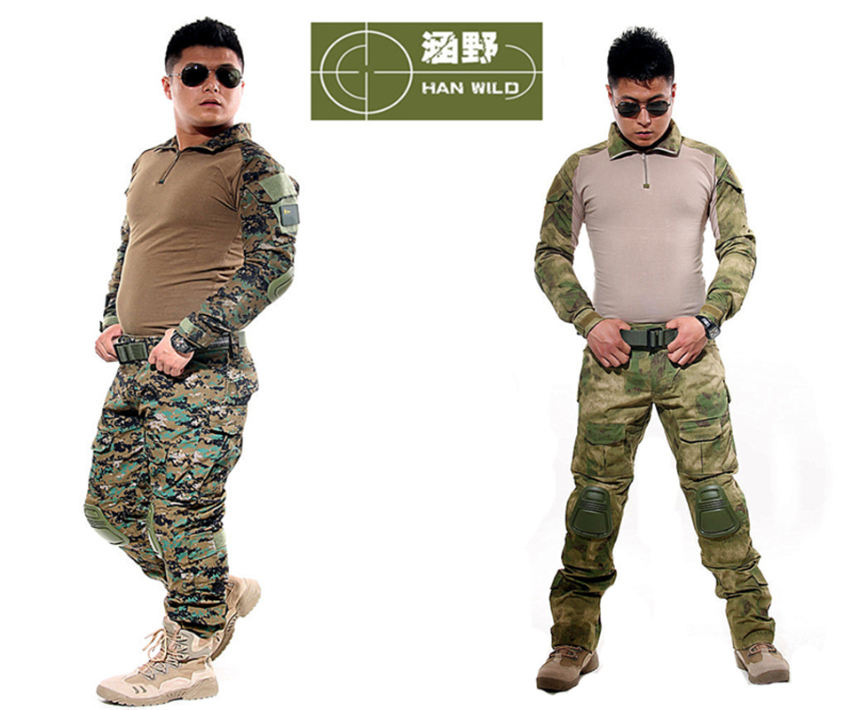 Military Army Traning Combat Uniform Tactical Camouflage Ghillie Suits With Detachable Kneelet Tactical Clothing For Hunting multicam uniforms acu camouflage uniform military tactical shirt pants wholesale combat army uniform