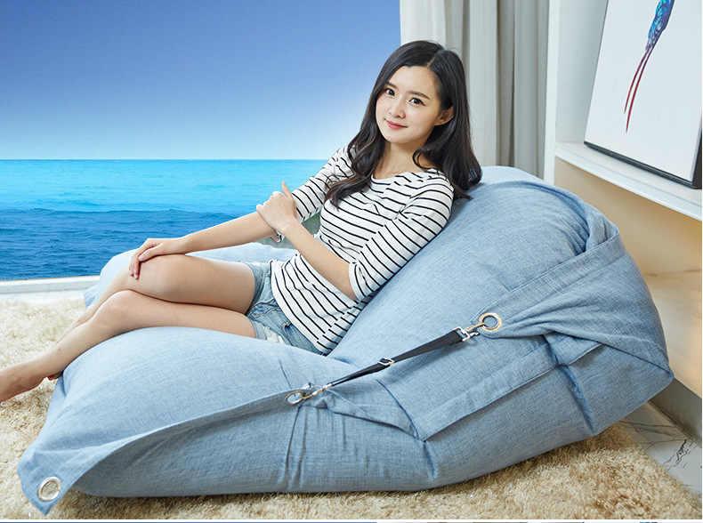 Cobrem apenas No Filler-tecido de linho interior cadeira do saco de feijão, sala de estar sofá beanbag espreguiçadeira, relaxar beanbag almofada saco