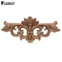 RUNBAZEF European Style Wooden Trim Wood Applique Decal Furniture Door Decoration Carved Flower Home Decor Figurine