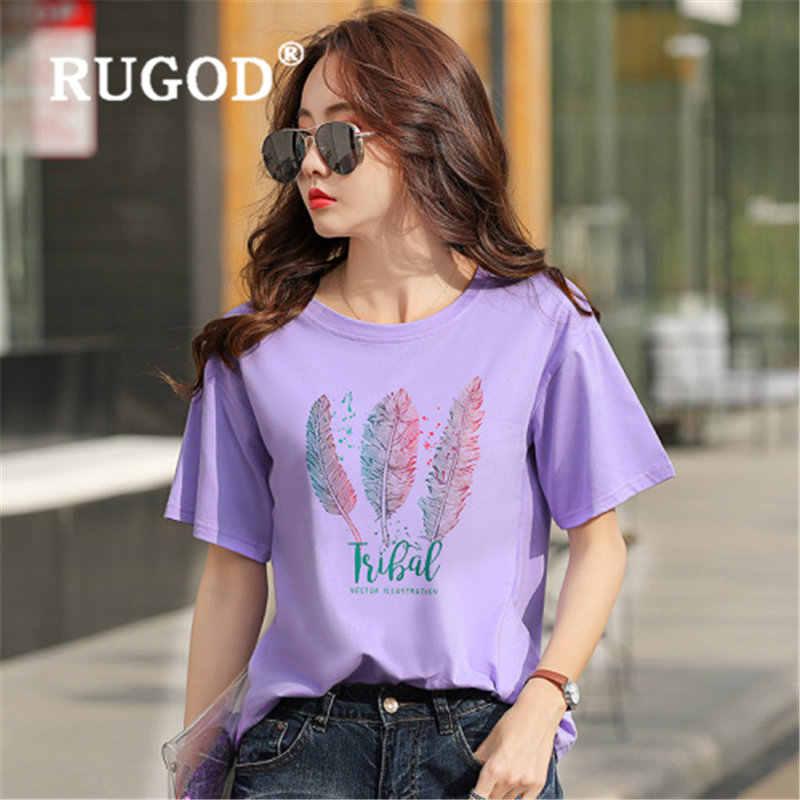 RUGOD ใหม่มาถึงฤดูร้อน tshirt หลวมพิมพ์เกาหลีรุ่น t เสื้อผู้หญิง O คอลำลอง poleras mujer