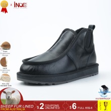 INOE real sheepskin leather sheep wool fur lined men casual winter snow boots for men winter shoes warm waterproof black slip-on