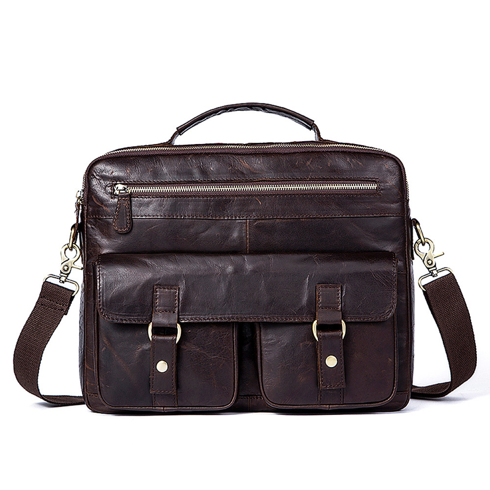 2018 Crazy Horse Handbag Cow Genuine Leather Shoulder Bag Vintage Casual Messenger Bag Men Business Briefcase Big Capacity Tote