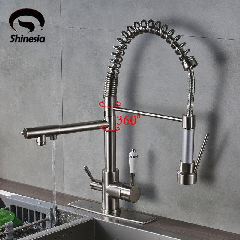 Brossé Waterfilter robinets robinets de cuisine Trois Bec Pont Monté Mitigeur 360 Degrés rotation De Purification De L'eau Caractéristique Grue