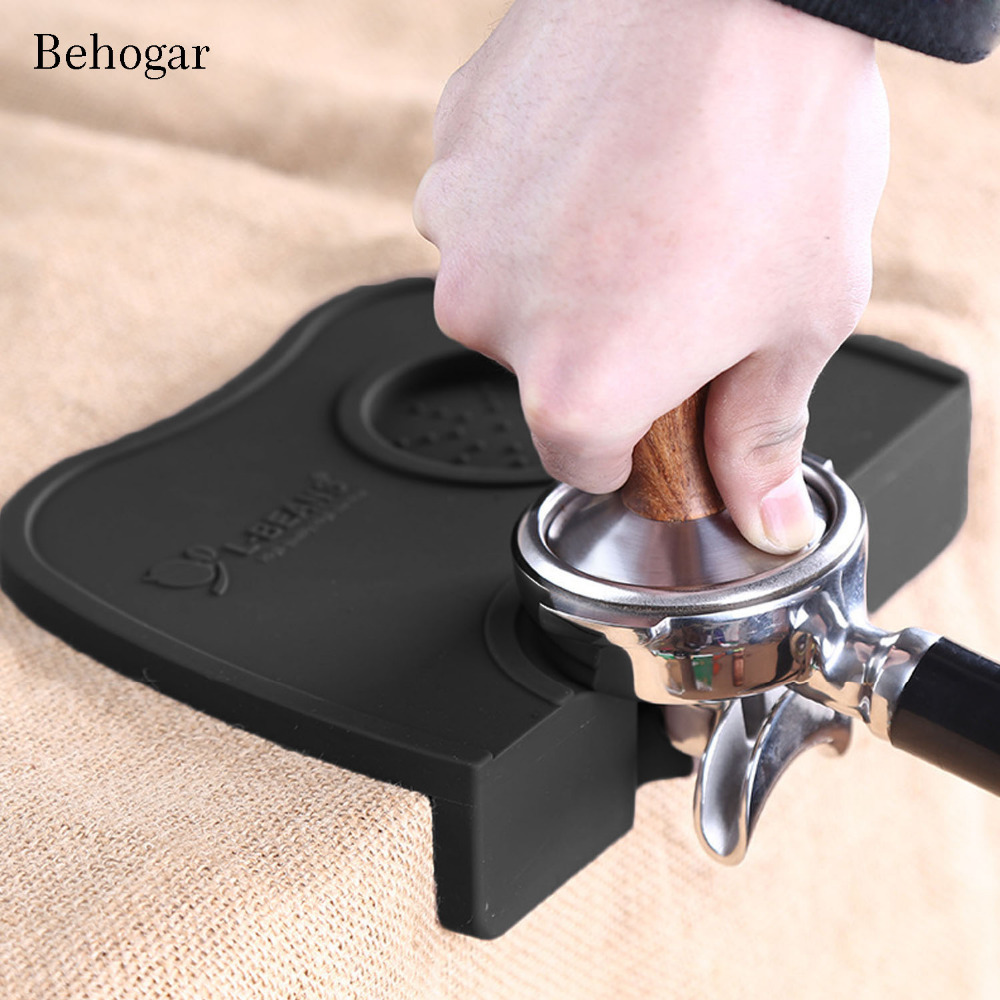 Behogar Silicone Espresso Coffee Tamping Stand Corner Tamper Mat Pad Tools For Baristas W/Non-Slippery Food Safe Kitchen Gadgets