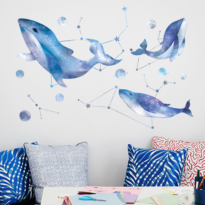 US $8.19 |Beautiful blue whale constellation planet wall stickers kids room  stickers bedroom living room decor wallpaper self adhesive-in Wall ...