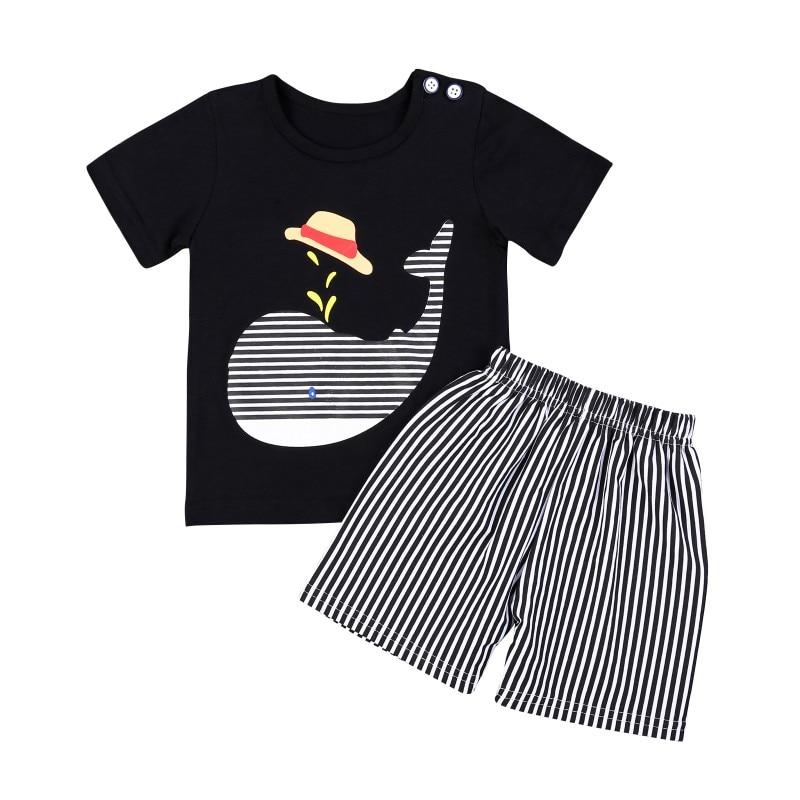 Hot Sale 2Pcs Stylish Summer Baby Cute Short Sleeve Cartoon printing T-shirts Tops+Stripe Shorts Clothes Set