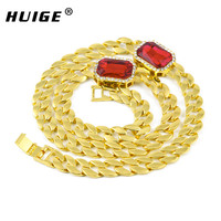 14k Gold Plated Miami Cuban Link Lab Diamond Red Ruby Chain Necklace Gold Tone Iced Out