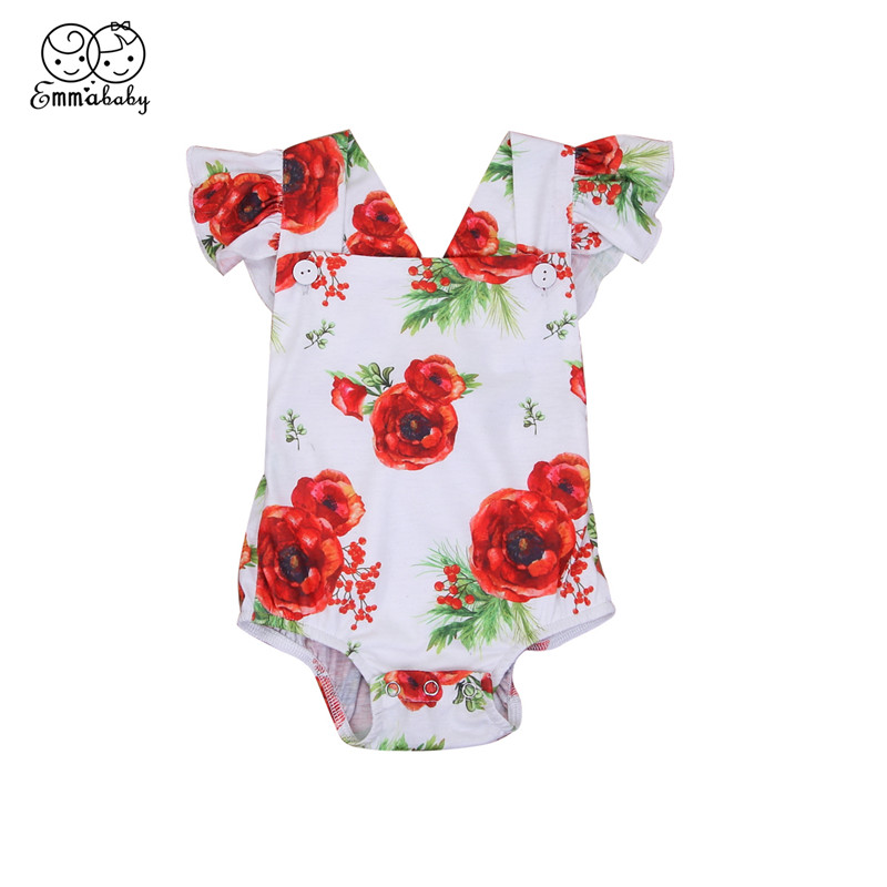 Summer Baby Girls Romper 2018 Fashion Short Sleeve Floral Printed Romper Newest Bebes Jumpsuit 0-24Month Newborn Baby Clothing