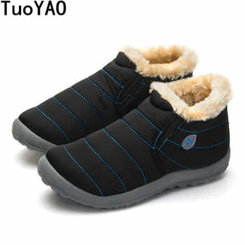 Size35-48 Waterproof Women Winter Shoes Couple Unisex Snow Boots Warm Fur Inside Antiskid Bottom Keep Warm Mother Casual Boots - DISCOUNT ITEM  55% OFF All Category