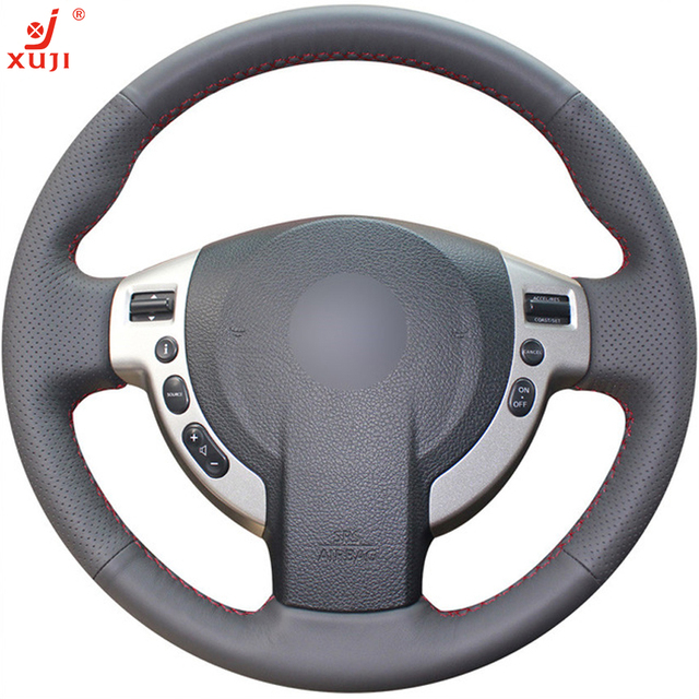 XUJI Black Leather Hand-stitched Car Steering Wheel Cover for Nissan QASHQAI X-Trail NV200 Rogue