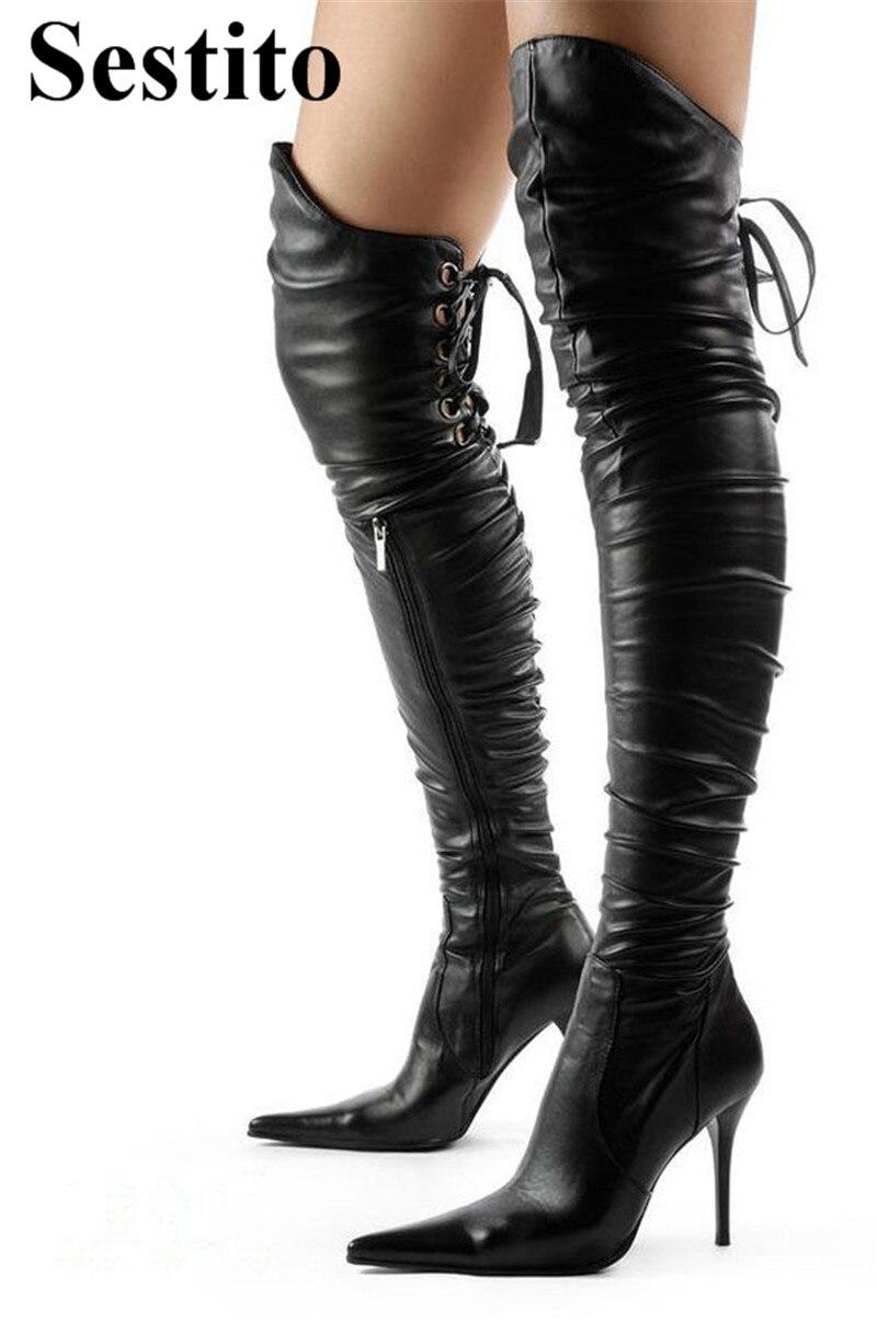 Talons attaché Cm Haute Chaussures Picture Sexy the Talon Bottes Over Minces As Dames genou Pointu Cuisse Noir Croix Bout Super Femmes 10 Zip xnPwRPaEB