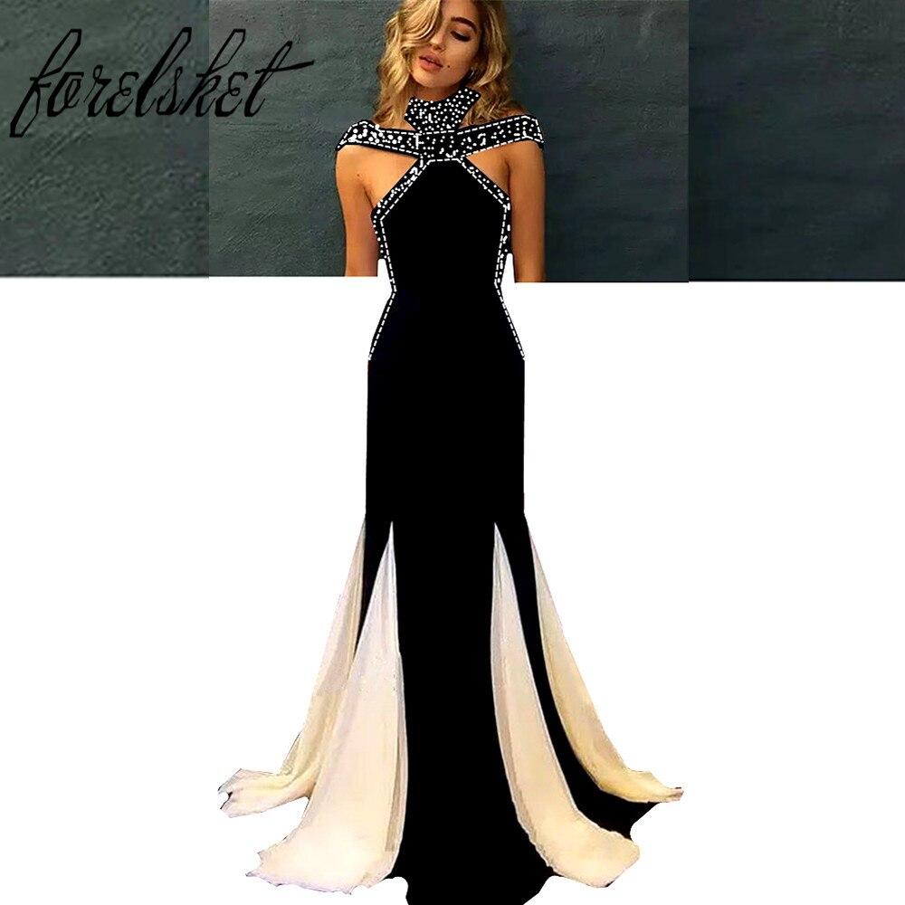 Black Evening Dresses 2019 Elegant Long Sleeve Mermaid Prom Dress Beaded Formal Prom Party Gowns robe de soiree vestidos largos