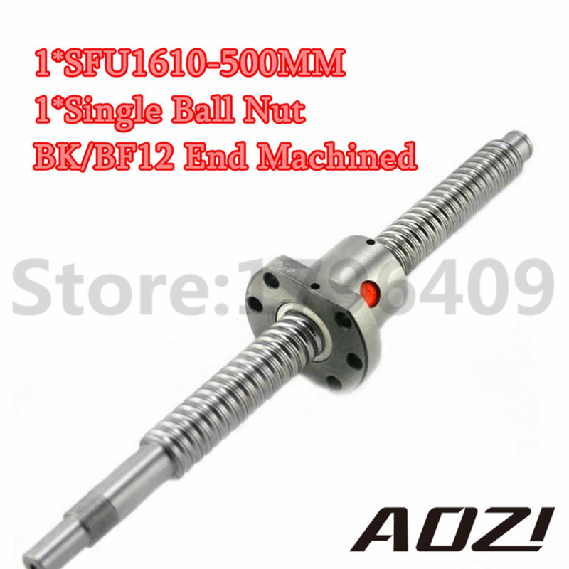 NEW 16mm RM1610 Ball Screw Rolled Ballscrew 1pcs SFU1610 L 500mm With 1pcs 1610 Flange Single Ballnut For CNC Part/End Machining цена