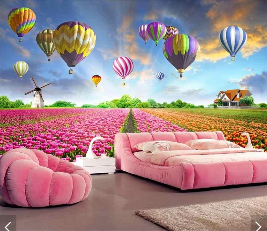 3D gorąca balony dekoracyjne kwiat tulipana fototapeta, tapeta dla dzieci sypialnia Floral Art dekoracje ścienne 3d tapeta do domu krajobraz malowidła ścienne