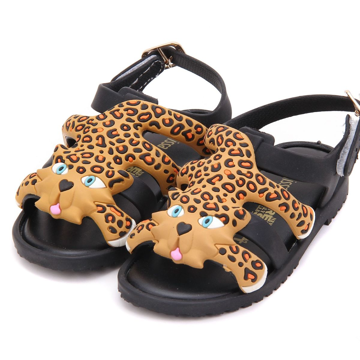 Mini Melissa Children Summer Kids Casual Hollow Clear Buckle Metal Princess Leopard Beach Clogs Mules Girls Jelly Shoes Sandals