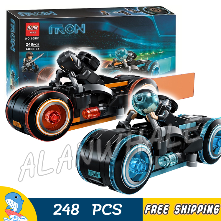 248Pcs Ideas Tron Legacy Light Cycles Racing Motor Bike Lightstream 10881 Model Building Blocks Toy Bricks Compatible With lego disguise inc tron legacy identity disk