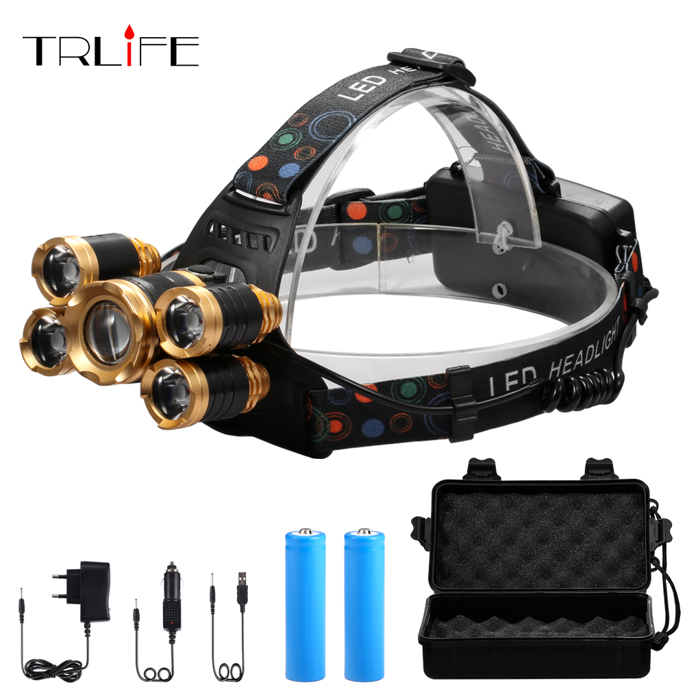 5*T6 LED Headlight 4mode Zoomable Headlamp USB Rechargeable Head Lamp +2*18650 Battery+AC/DC Charger+Free BOX