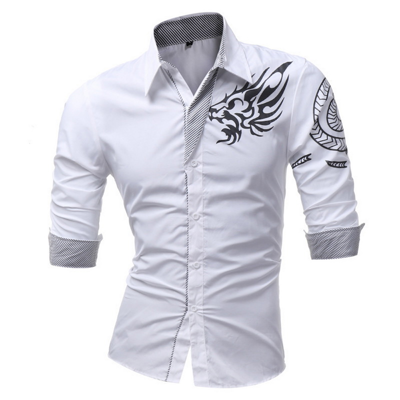 HEFLASHOR New Men's Long-Sleeved Dress Shirt Dragon Print Casual Male Slim Long Sleeve High Quality Large Size 4XL