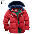 New Children Parkas 5-10T Winter Kids Outerwear Boys Casual Warm Hooded Jacket For Boys Solid Boys Warm Coats Boy Winter Jacket