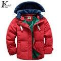 Nuevos Niños Parkas 5-10 T Niños Invierno ropa de Abrigo Niños Ocasional Caliente Chaqueta con capucha Para Niños Chicos Sólido Abrigos Boy Invierno chaqueta