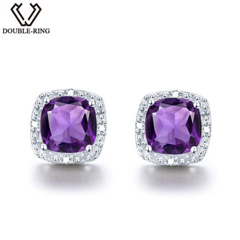 DOUBLE-R 1.6Ct Natural Amethyst Gemstone 925 Sterling Silver Earrings For Women Vintage Costume Jewelry