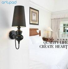 Artpad Modern Indoor Wall Lamp Black/White/Gold Chrome E27 Nordic Classic Lights for Bathroom Corridor Living Room Lighting