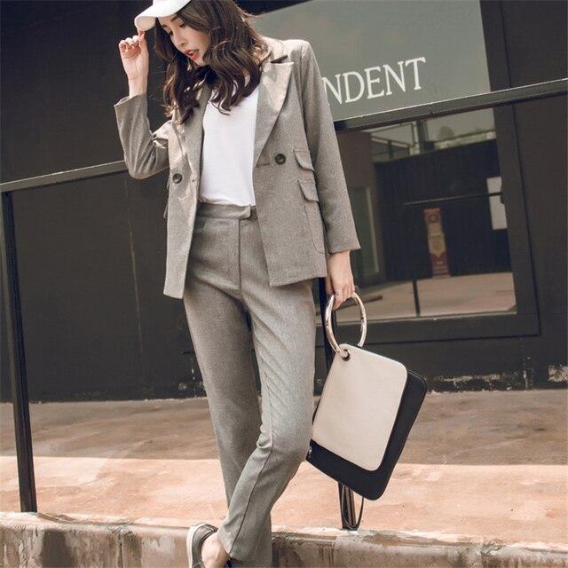 2018 Для женщин 2 комплекты из двух предметов короткий серый однотонный блейзер + Высокая Талия Брюки Офисные женские туфли жакет с разрезом брючный костюм в Корейском стиле; Femme
