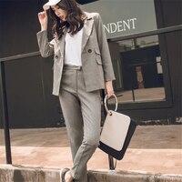 Women Suit Gray Casual Blazer & High Waist Pant Office Lady Notched Jacket Pant Suits Korean Femme 2 pieces set