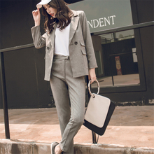 Women Suit Gray Casual Blazer & High Waist Pant Office Lady Notched Jacket Pant