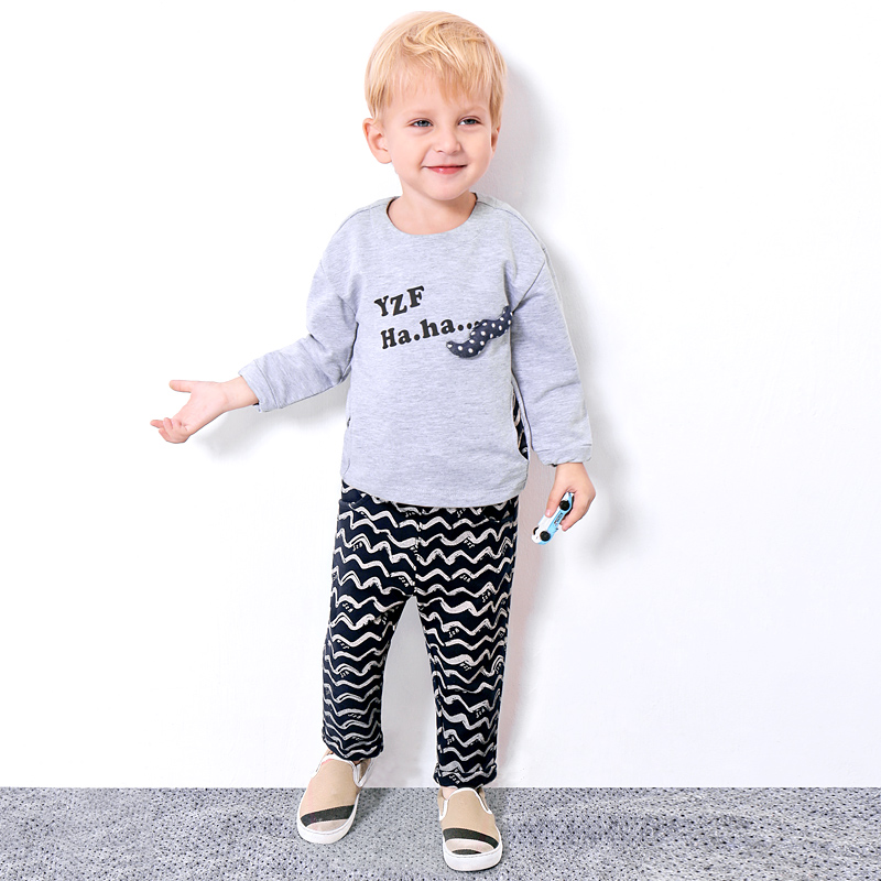 2018 New 2pcs Toddler Kids Cool Baby Boy Cartoon Sleeve T-shirt Tops+ Wave Pants Outfits Clothing Set girls baby long sleeve tops t shirt bib cartoon minnie 2pcs outfits set 1 5y