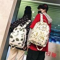Large Capacity Couple Backpack Gold Leaf Pattern Girls Knapsack Trend Women Laptop Backpack Korea College Students Back Pack
