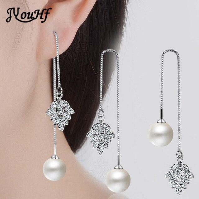 JYouHF Fashion 925 Sterling Silver CZ Zircon Leaf Charm Pendant Drop Earrings Women Elegant Pearl Bead Long Chain Earring Aretes
