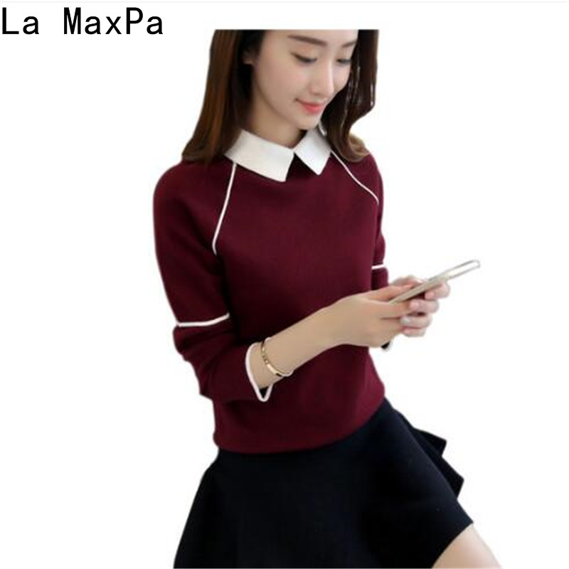 Women Pullover Sweater Turn-Down-Collar New-Fashion Autumn Solid-Colors Femme High-Quality