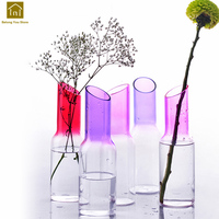 Home Decoration Accessories Modern Vases Clear Glass Tabletop Glass Vase Hydroponic Home Office Wedding Garden Decor QAB067