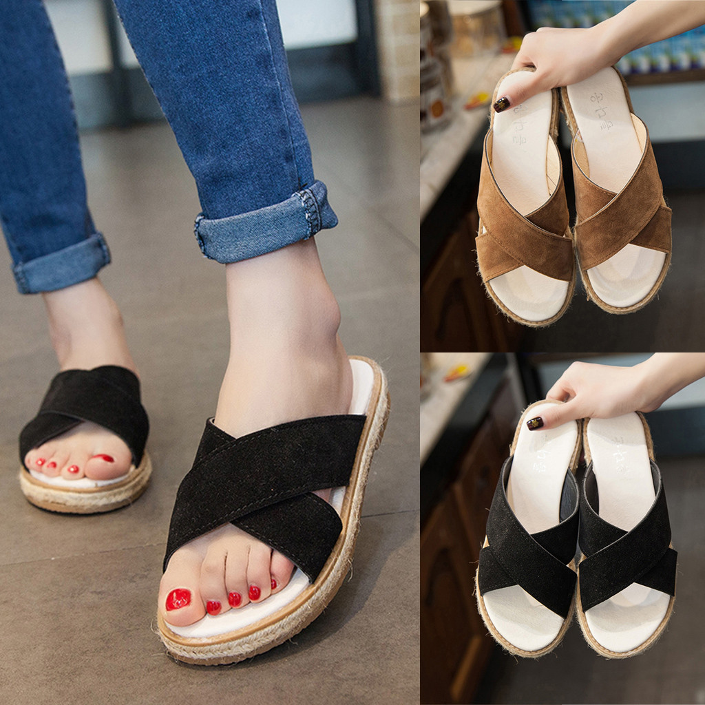 Summer Womens Flats Cross Sandals Slip On Sandals Ladies Shoes Beach Slippers fashion Gladiator Roman Shoes Flat Shoes Apr 29  - buy with discount